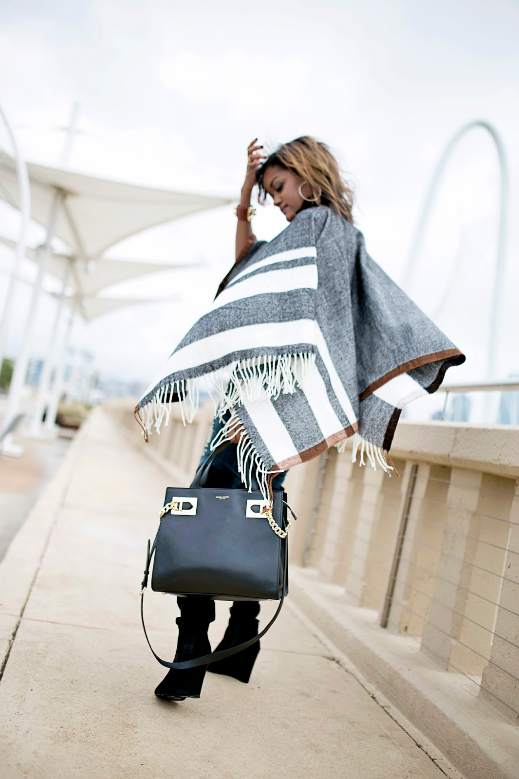 dallas fashion blogger, fashion blogger, black girl blogger, how to wear capes, over the knee boots, wedge boots, just fab over the knee boots, henri bendel bag, how to wear ripped jeans, fall fashion trend, cape, poncho, asos cape