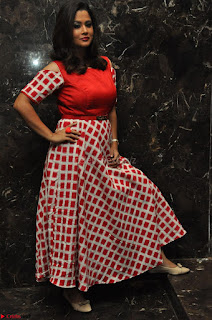 Shilpa Chakravarthy looks super cute in Red Frock style Dress 019.JPG