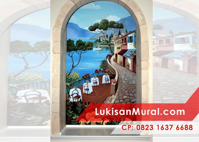 Cafe window mural