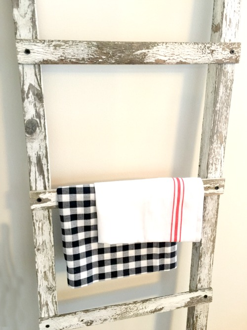 rustic ladder with fabric