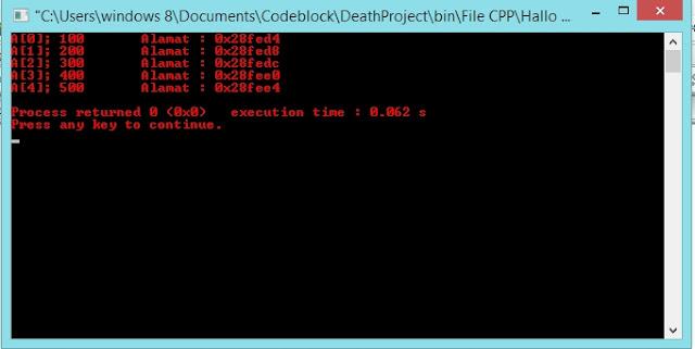 Output program Pointer ke Array