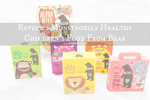 Blog Review of Monstrously Healthy Children's Food From Bear - a selection of healthy bear foods including snacks and sweets and cereal