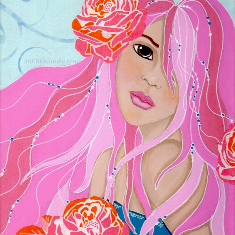 Roses in Her Hair Mixed Media
