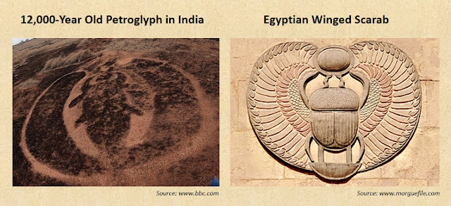 12,000-year-old petroglyph at Ratnagiri, India, depicting the Egyptian Winged Scarab