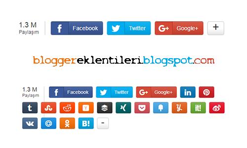 Blogger Sayaçlı ve Mobil Uyumlu Sosyal Paylaşım Düğmeleri