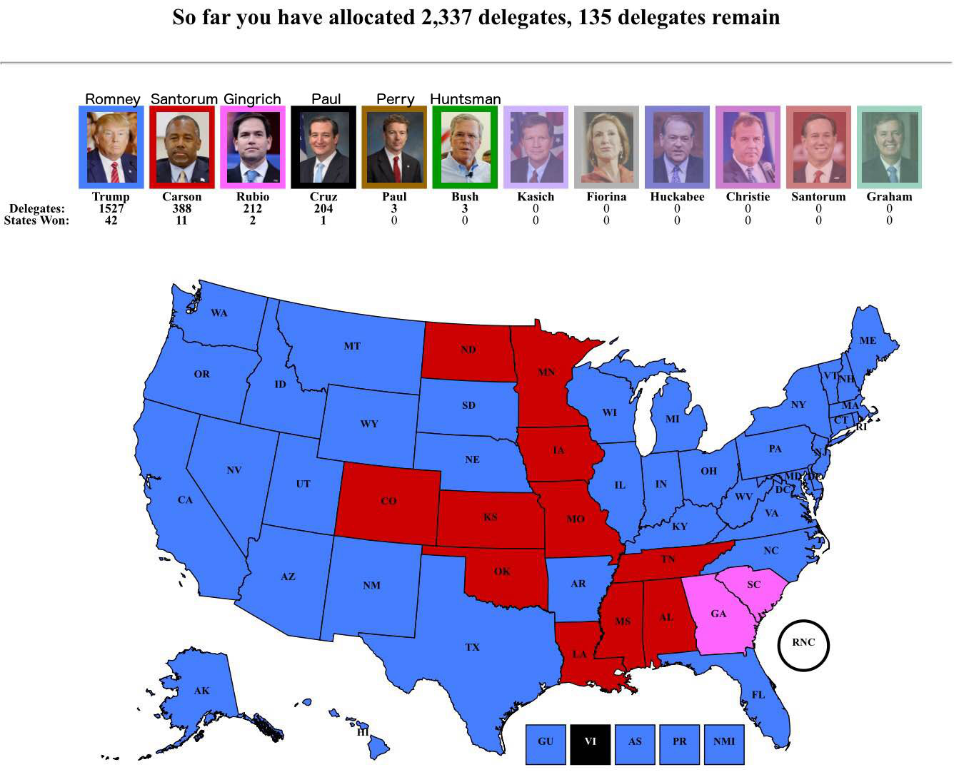 How Many Delegates Per State Map.Frontloading Hq A Request Don T Use The Rcp Delegate Interactive