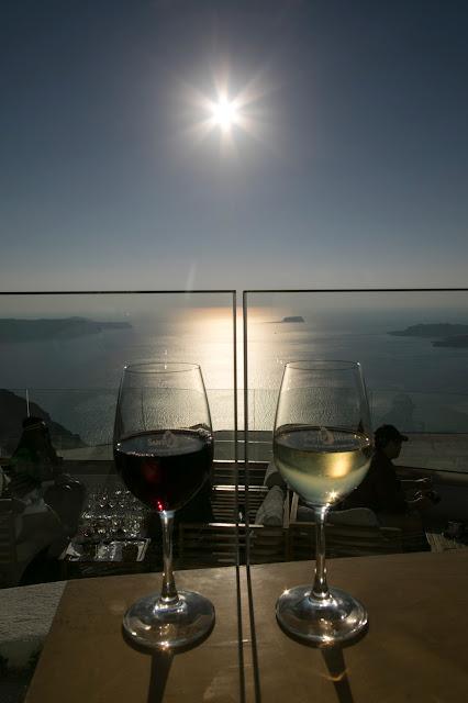 Panorama e tramonto da Santo Wines-Santorini