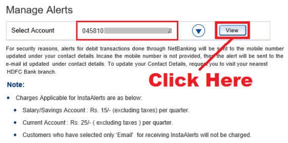 how to deactivate insta alerts in hdfc