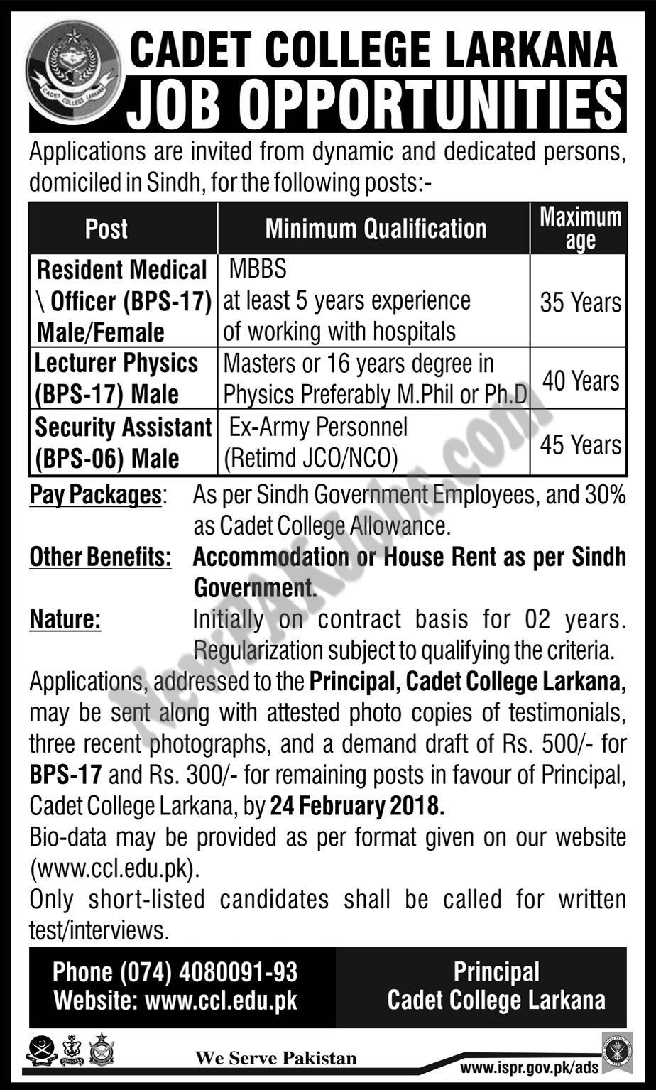 Cadet College Larkana Jobs Opportunities Today Feb 2018, New Vacancies