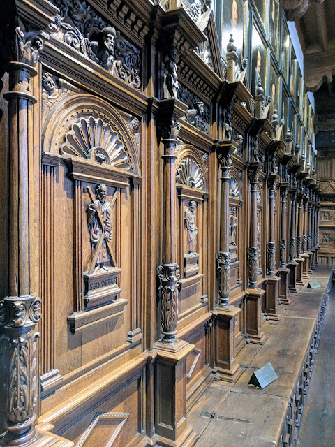 Wooden panels inside Münster's Hall of Peace