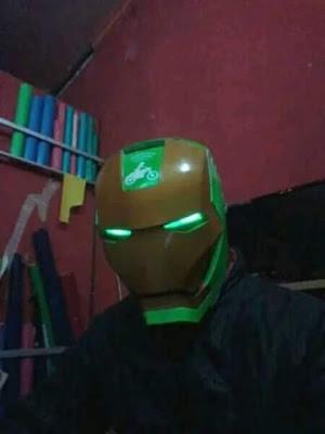 Tampilan dan Harga Helm Gojek Ironman (Iron Man Helmet)