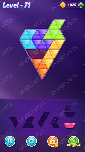 Block! Triangle Puzzle 6 Mania Level 71 Solution, Cheats, Walkthrough for Android, iPhone, iPad and iPod
