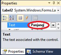 ubah text label2 menjadi Panjang