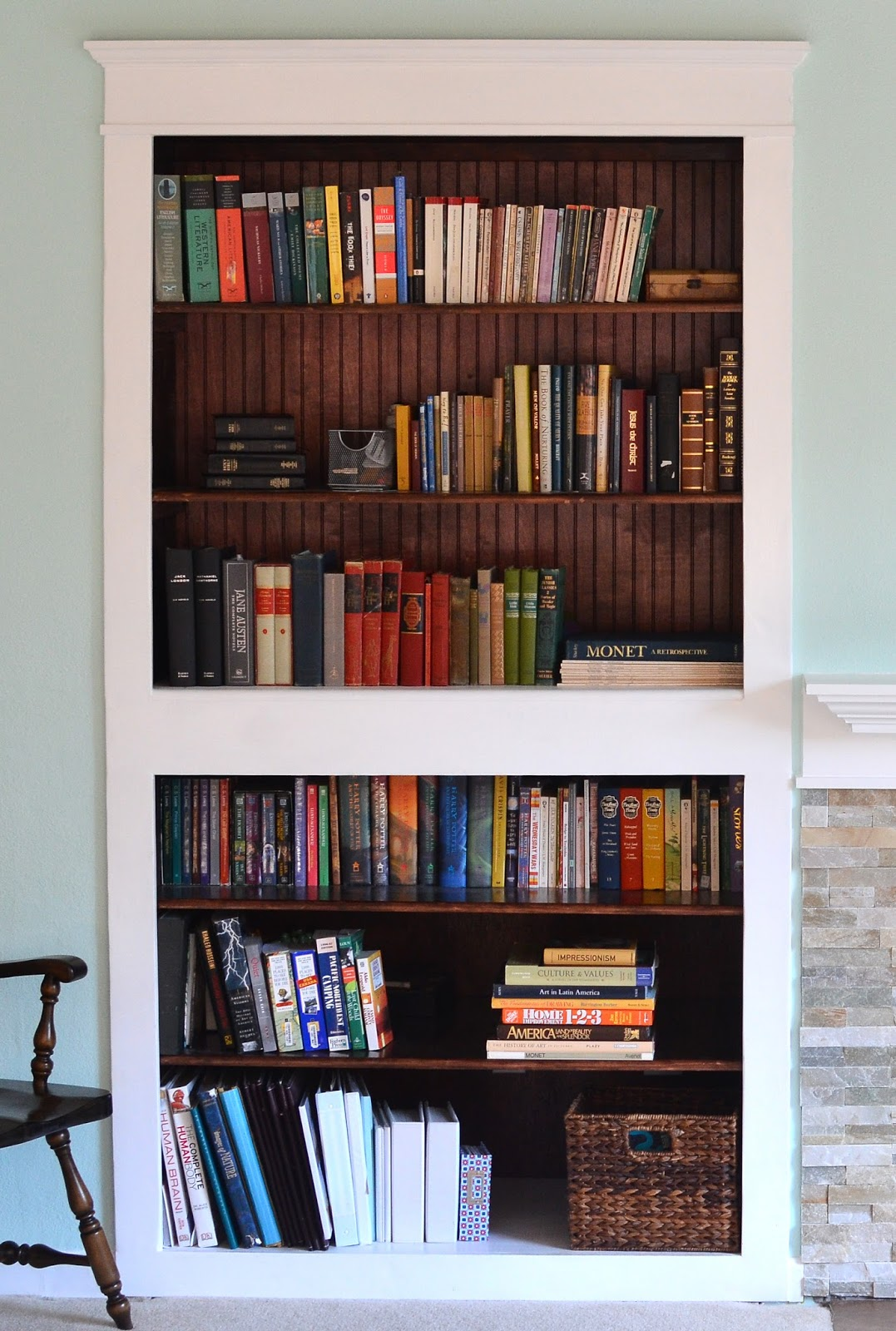 from holes to built in bookshelves