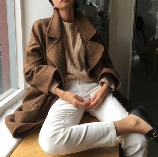 brown coat beige sweater cream pants fashion style spring