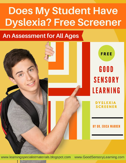 Are you concerned that a student in your class has dyslexia? Our guest blogger in this post is sharing a free dyslexia screener that will help you determine if your student or child needs to receive formal evaluation. Click through to get more details about the screener and to learn more about supporting students with dyslexia.