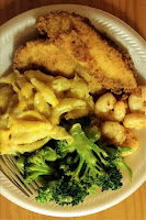 Fried Tilapia with spicy shrimp and mac and cheese