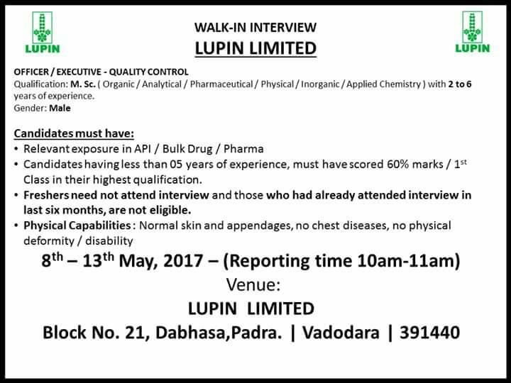 LUPIN Limited: Walk in Interview from 8th to 13th May 2017