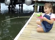 Little Girl Catch Big Fish With Barbie Pole