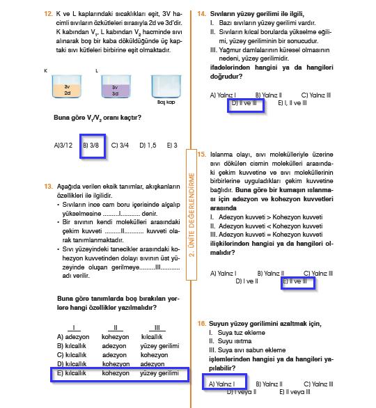 9.Sınıf Fizik MEB Yayınları Ders Kitabı 103.Sayfa Cevapları 2. Ünite Değerlendirme (Yeni Müfredat)