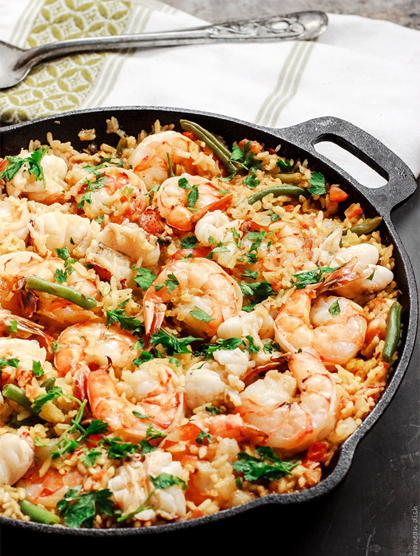 Prawn easy peasy paella chicken high protein eat clean healthy