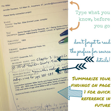 Printable genealogy note taking form, page 1.