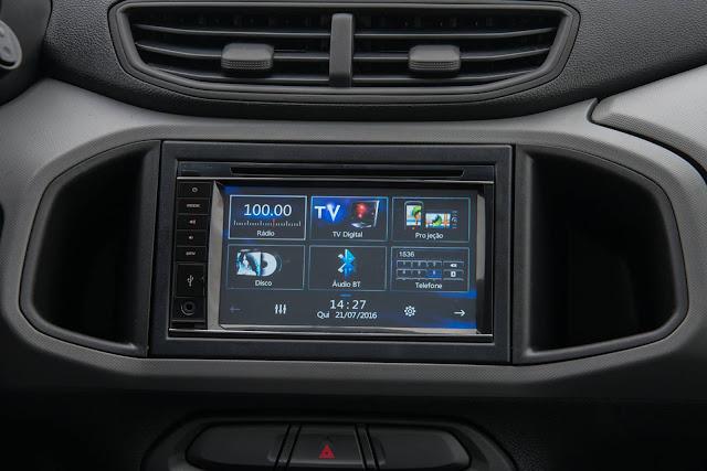 novo Chevrolet Prisma 2017 - sistema multimídia opcional