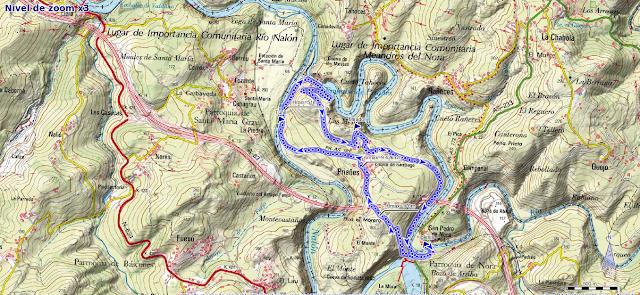 Mapa ruta de Priañes