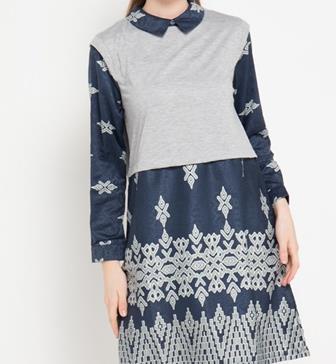 Contoh Model Baju Batik Kombinasi Polos Terkini