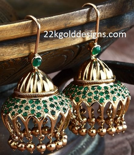 Moghul Design Emerald Jhumkis