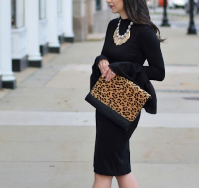 Black Bell Sleeves and Leopard Clutch