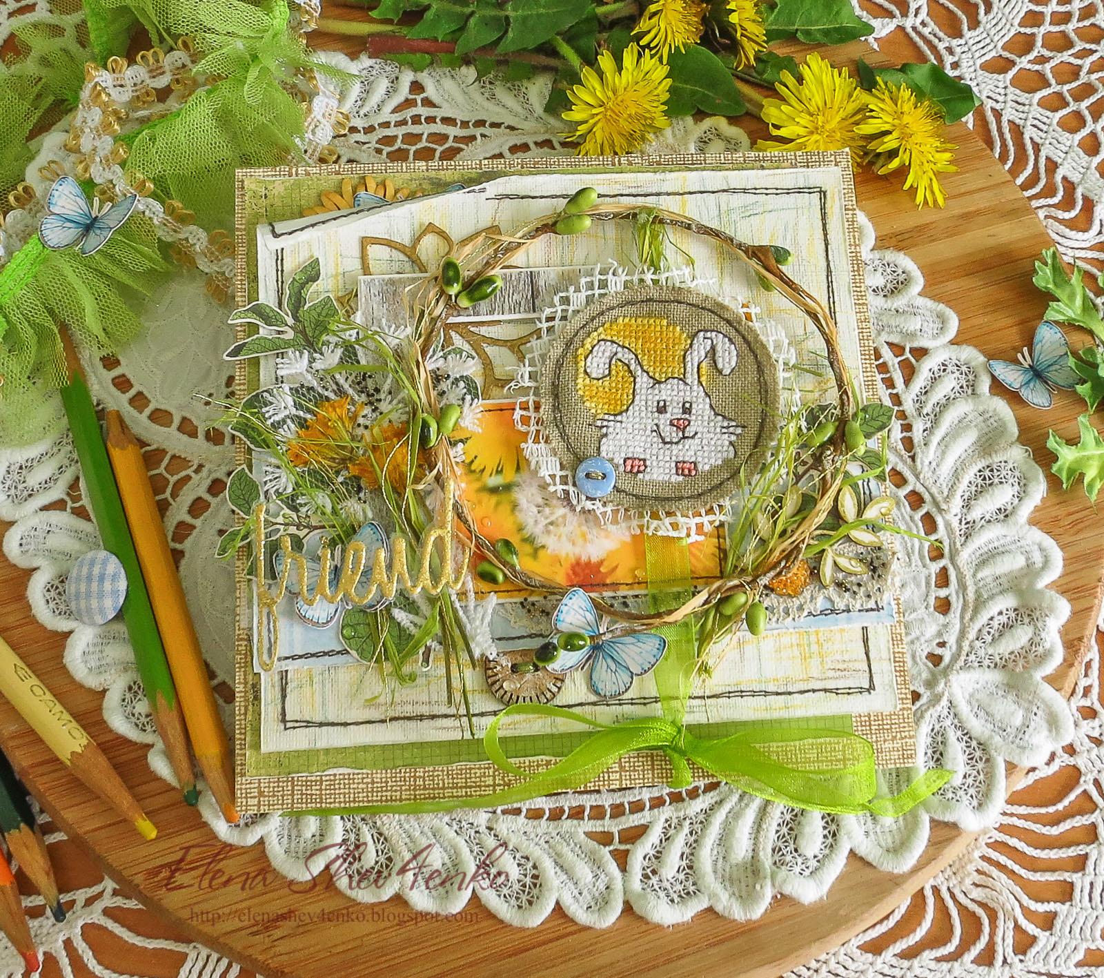 кульбабки, одуванчики, dandelions, cardmaking, spring postcard, открытка ручной работы, листівка ручної роботи, кардмейкинг, открытка с вышивкой, вышивка в скрапе, вишитий зайчик, embroidered hare