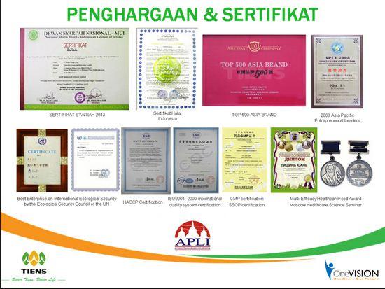 sertifikat produk tiens
