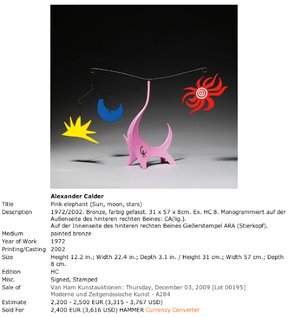 Sculpture Misattributed to Alexander Calder Sold by Van Ham Auctions in 2009