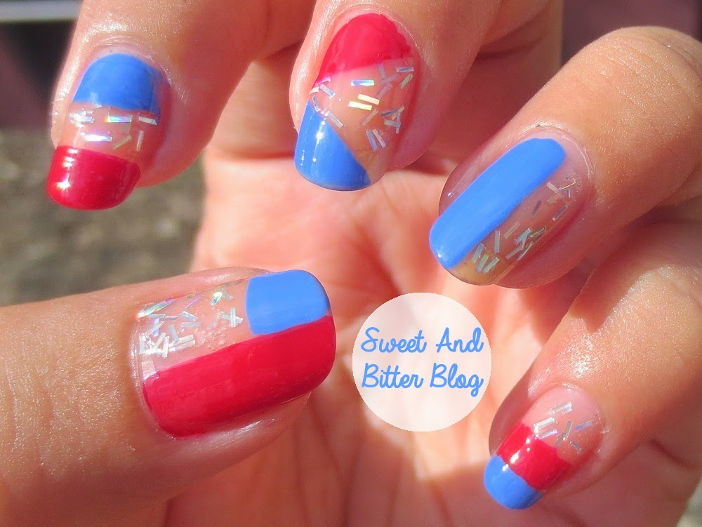 Red Blue Nail Art // Sally Hansen Pacific Blue, Cherry Red, In the Spotlight