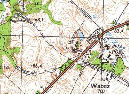 Poganka - wczesnośredniowieczne grodzisko pierścieniowate we wsi Wabcz - mapa z portalu geoportal