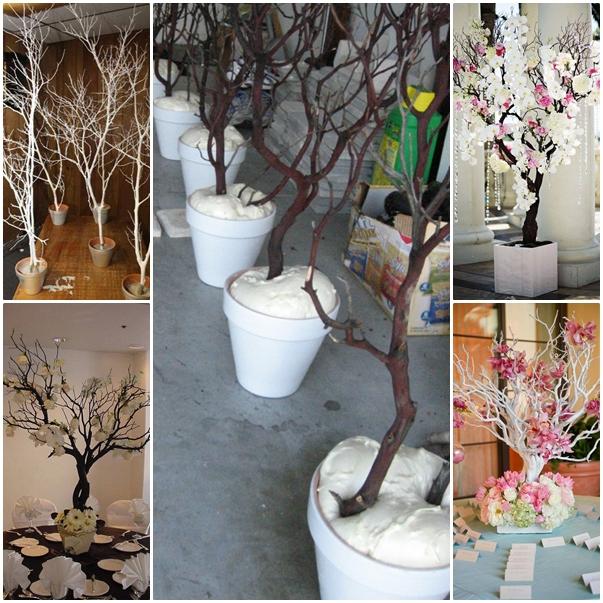 De todo un poco centros de mesa para fiestas con ramas secas - Como decorar un arbol seco ...