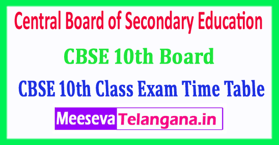 CBSE 10th Time Table 2019 Central Board of Secondary Education 10th Class Date Sheet