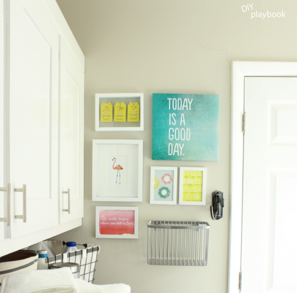 Tips for organized laundry room cabinets and a gallery wall