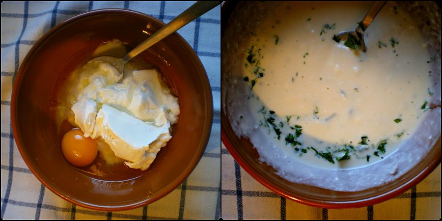 Muffins de pan integral, queso y tomate: Elaboración del relleno