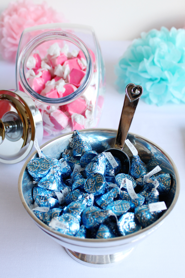 Blue and pink candy for a gender-reveal party