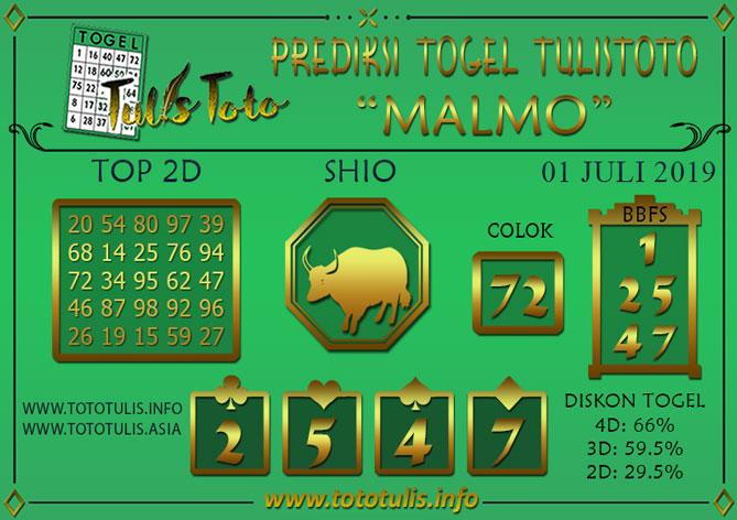 Prediksi Togel MALMO TULISTOTO 01 JULI 2019