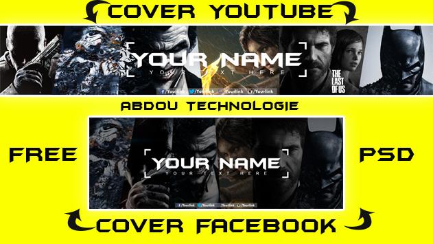 غلاف فيس بوك ويوتيوب psd للقيمزر+ جااهز للتعديل