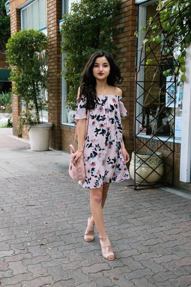 blush pink floral off the shoulder bow dress outfit one clothing spring