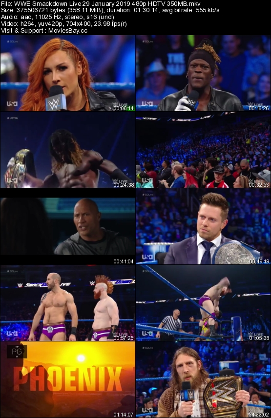 Screen Shoot of WWE Smackdown Live 29 January 2019 480p HDTV 350MB