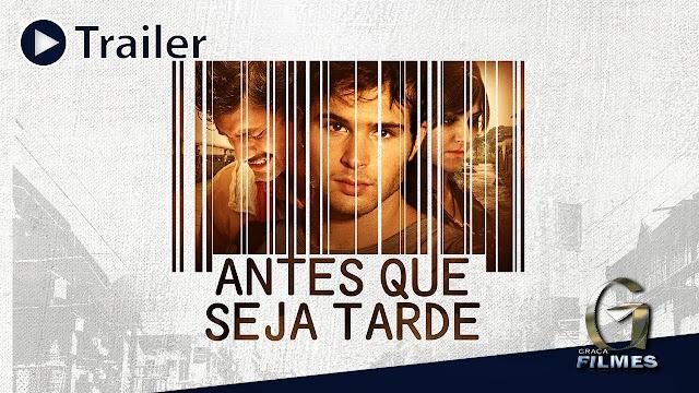 três pessoas na capa na capa do filme Antes que seja tarde, Dublado e Completo