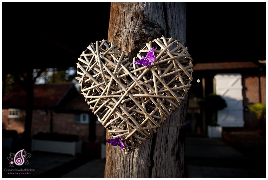 Purple Hearts Wedding Wooden heart, p...
