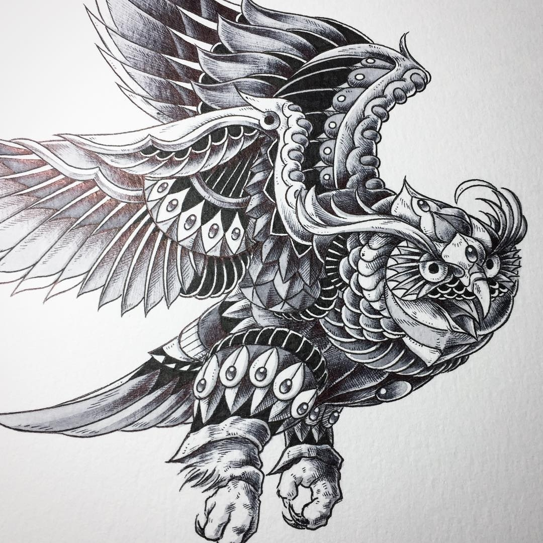 13-Ornate-Owls-Ben-Kwok-bioworkz-Animals-Drawings-Detailed-with-Elaborate-Geometric-Shapes-www-designstack-co