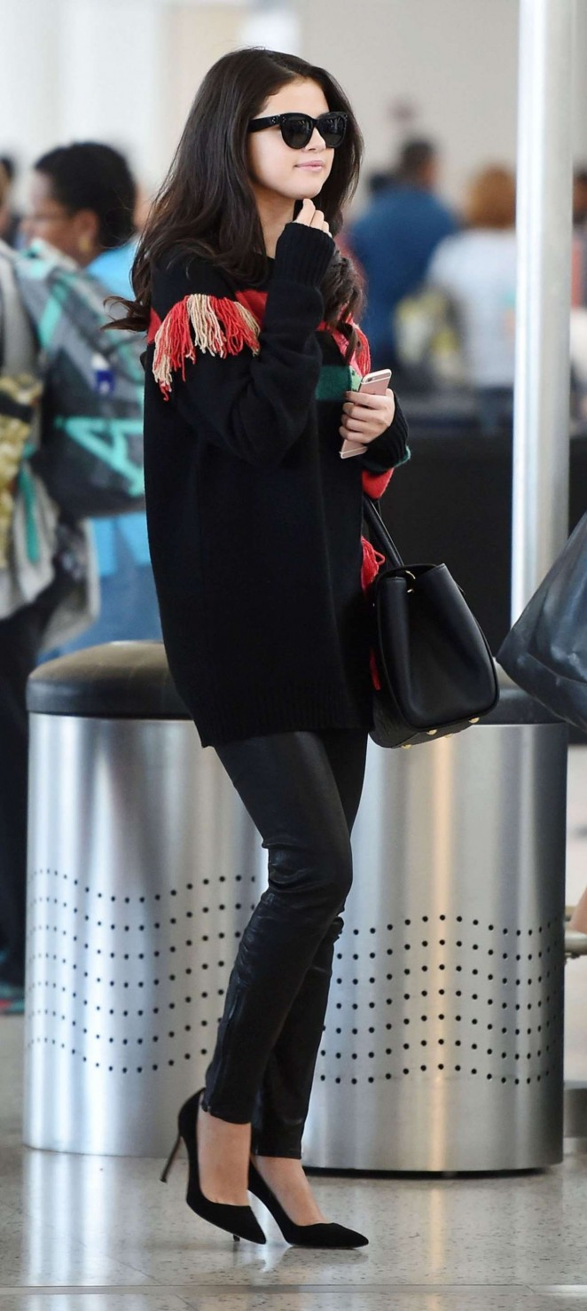 Selena Gomez in Leather Pants at JFK Airport in NY
