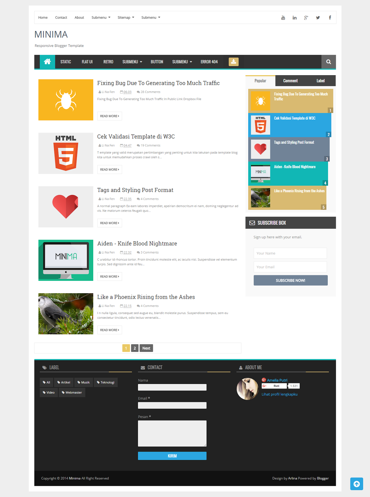Minima Responsive Blogger Template SEO Friendly - Zona Template